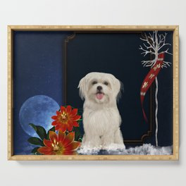 Cute little havanese puppy with flowers Serving Tray