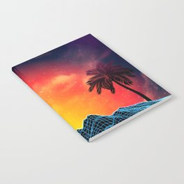Sunset Vaporwave landscape with rocks and palms Notebook