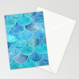 Turquoise Blue Watercolor Mermaid Stationery Cards