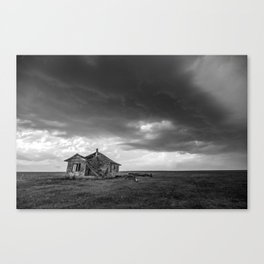 Sweeping Down the Plains - Abandoned House and Storm in Oklahoma Canvas Print