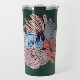 Dirty Blush Flower Bouquet Travel Mug