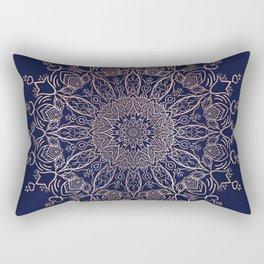 Navy Blue and Rose Pink Tulip Boho Mandala Rectangular Pillow