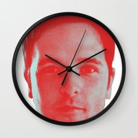 chad wys Wall Clocks featuring Chad Head by Blake Makes Tees