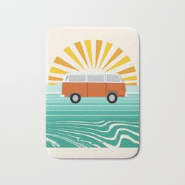 Peace, man - retro 70s hippie bus surfing socal california minimal 1970's style vibes Bath Mat