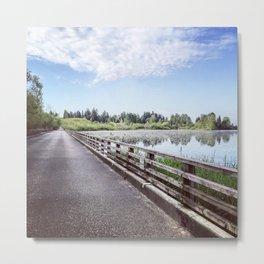 """No Fishing"" Sign on Lonely Bridge Metal Print"