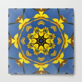 Yellow Coneflower, Ratibida, Kaleidoscope 793 #society6 #kaleidoscope Metal Print