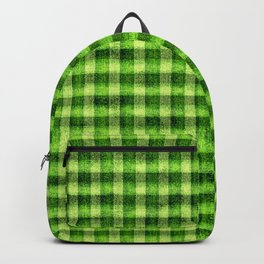 Lime Green and Yellow Gingham Faux Velvet Backpack