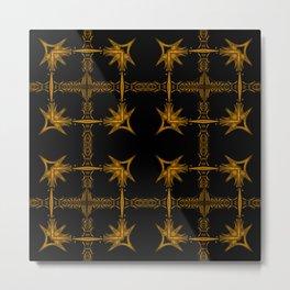 Brown Star Pattern Metal Print