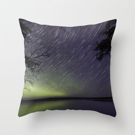 Star Trails on the Water Throw Pillow