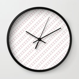Soft Alice Pink and White Candy Cane Checker Square Stripe Wall Clock