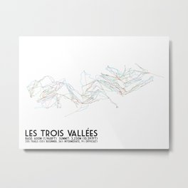 Les Trois Vallees, Savoie, France - North America Colors - Minimalist Trail Art Metal Print
