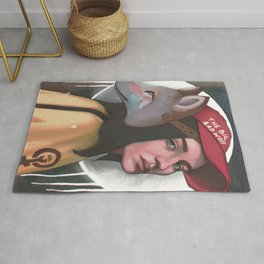 Modern red ridding hood girl portrait with wolf mask  Rug
