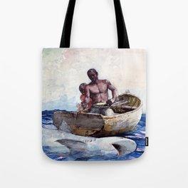 12,000pixel-500dpi - Winslow Homer1 - Shark Fishing,1885 - Digital Remastered Edition Tote Bag