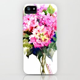 Hydrangea Pink Flowers, Floral pink decor iPhone Case