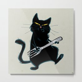 Cat with a fork Metal Print
