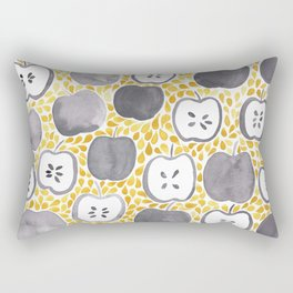 Watercolour Apples | Mustard and Grey Palette Rectangular Pillow