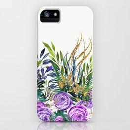 Gold Glitter Purple Garden iPhone Case