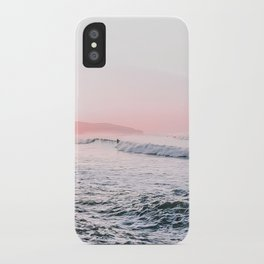 Ocean, Surfer, Pink Sunset, Beach Wall Art iPhone Case
