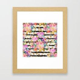 Elegant spring flowers and stripes design Framed Art Print