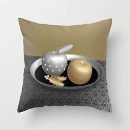 Gold and Silver Christmas Apples on a Silver Platter Throw Pillow