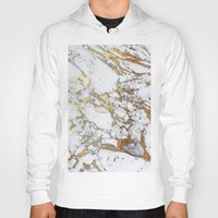 white marble Hoodies featuring Gold Marble by Jenna Davis Designs