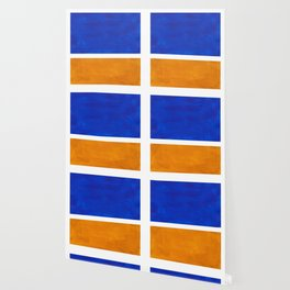 Phthalo Blue Yellow Ochre Mid Century Modern Abstract Minimalist Rothko Color Field Squares Wallpaper