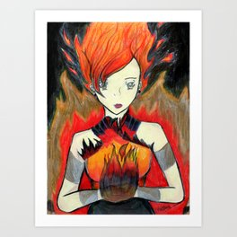 Girl on Fire Art Print