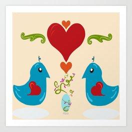 Kawaii Folk Art Birds Art Print