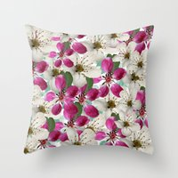 matty healy Throw Pillows featuring Spring Blossoms Abstract  by Judy Palkimas