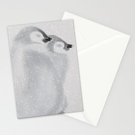 Penguins in snowstorm Stationery Cards