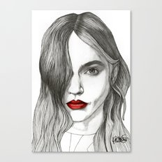 Sasha with Red Lips Canvas Print