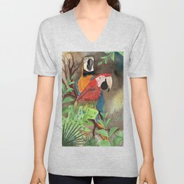 Parrot Couple with tropical leaves Watercolor Design Unisex V-Neck