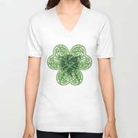 clover V-neck T-shirts featuring CLOVER by RAIDHO