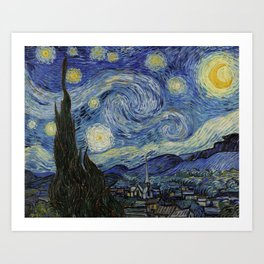 The Starry Night by Vincent van Gogh 1889 // Abstract Brush Stroke Detail Mountains Stars City Scene Art Print