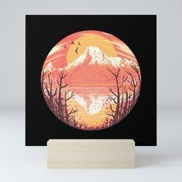 Volcano red sunset nature scenerey with birds Mini Art Print