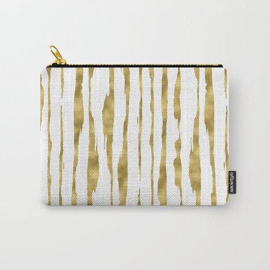 Small uneven hand painted gold stripes on clear white - vertical pattern Carry-All Pouch
