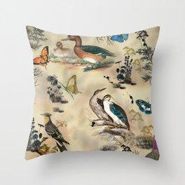 Old Vintage animals n1 print Throw Pillow