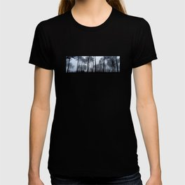 Fog and Forest III-wood,mist,romantic, greenery,sunset,dawn,Landes forest,fantasy T-shirt