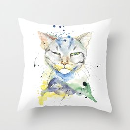 Suspicious Cat Throw Pillow