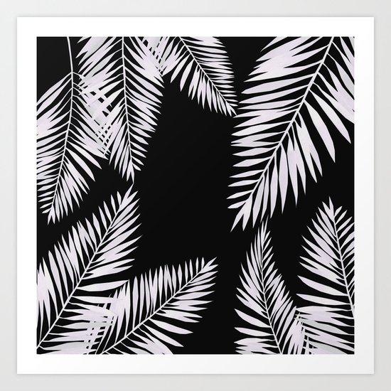 Watercolor tropical palm leaves black Art Print