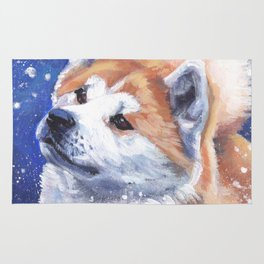 Akita inu Fine Art Dog Painting by L.A.Shepard Rug