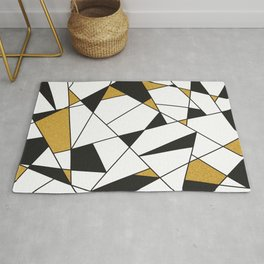Modern Geometry -black and white with gold- Rug