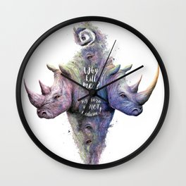 Save Rhinos Wall Clock