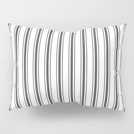 Mattress Ticking Wide Striped Pattern in Dark Black and White Pillow Sham