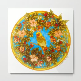 Colourful Yellow Parakeet In Flowery Wreath Metal Print