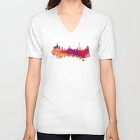 moscow V-neck T-shirts featuring Moscow skyline by jbjart