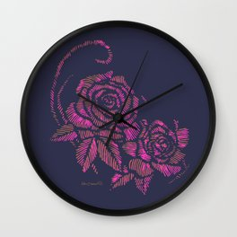 deep purple rose Wall Clock
