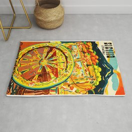 Sicily Italy Vintage Travel Ad Rug