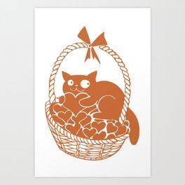 Valentine Cat in Basket of Hearts Art Print