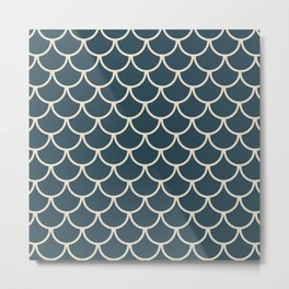 Dark Blue & Beige Fish Scales Pattern Metal Print